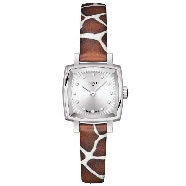 TISSOT T-Lady Lovely Square Diamonds Animal Print Leather Strap T0581091703600