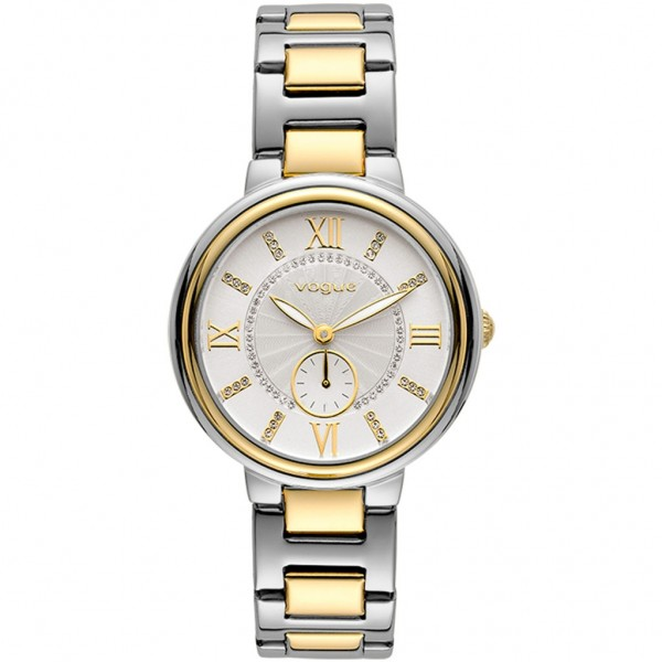 VOGUE Limoges 610361 Crystals Two Tone Stainless Steel Bracelet