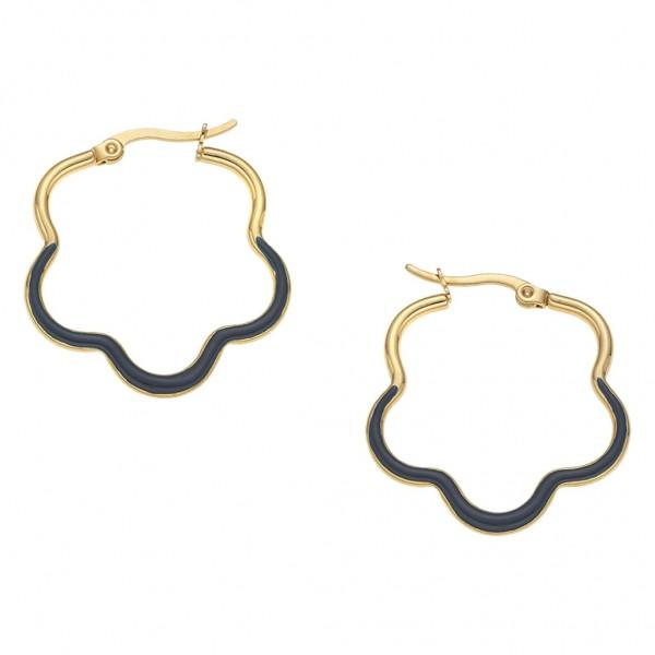 BREEZE Handmade Earring Perfect Loop   Enamel - Gold Stainless Steel 210021.1