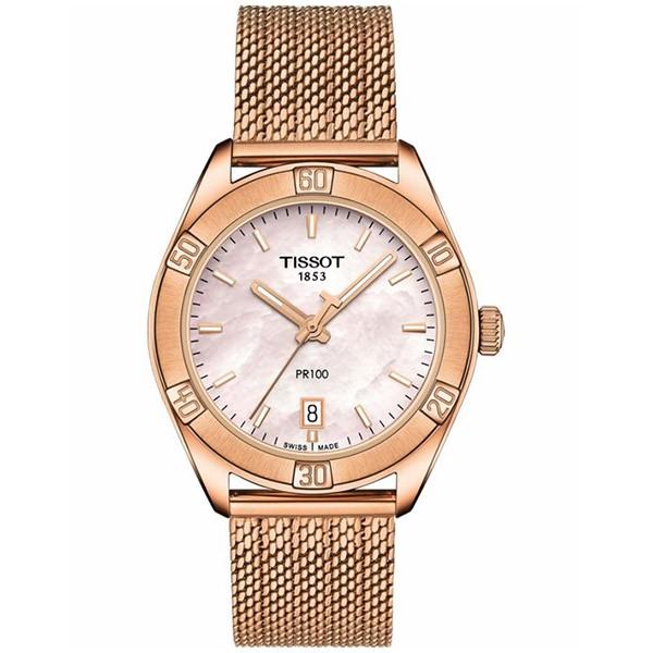 TISSOT T-Classic PR 100 Sport Chic Rose Gold Stainless Steel Bracelet T1019103315100