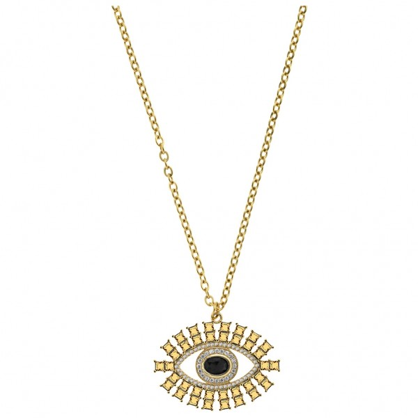 BREEZE Handmade Necklace Ancient Ruler's Pendant Crystals - Zircons   Gold Stainless Steel 410047.1