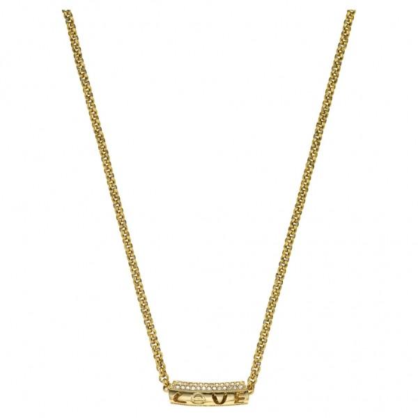 BREEZE Handmade Necklace Flicker Bar Zircons   Gold Stainless Steel 410048.1