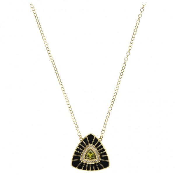 BREEZE Handmade Necklace Dark Nabla Crystals - Zircons   Enamel - Gold Stainless Steel 410049.1