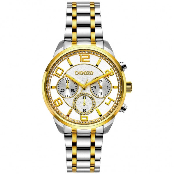 BREEZE Myrina 712211.2 Chronograph Crystals Two Tone Stainless Steel Bracelet