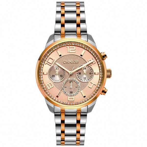 BREEZE Myrina 712211.4 Chronograph Crystals Two Tone Stainless Steel Bracelet