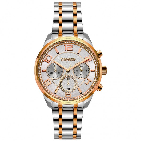 BREEZE Myrina 712211.6 Chronograph Crystals Two Tone Stainless Steel Bracelet