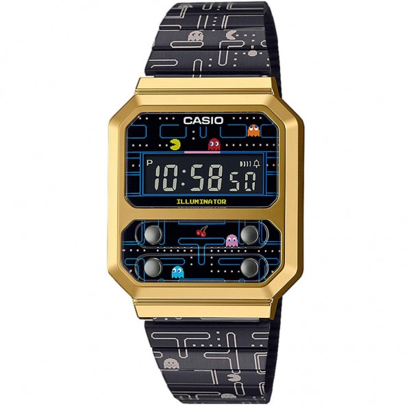 CASIO Vintage A-100WEPC-1BER Special Edition Pacman Black Stainless Steel Bracelet