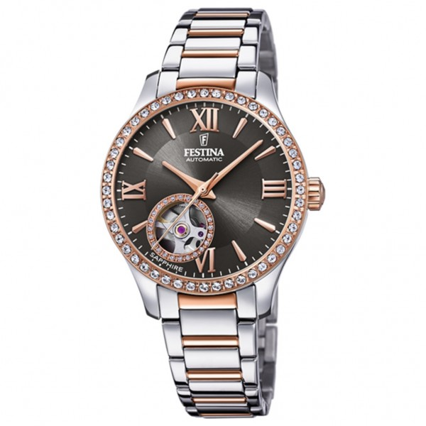 FESTINA Automatic Woman F20487/2 Crystals Two Tone Stainless Steel Bracelet