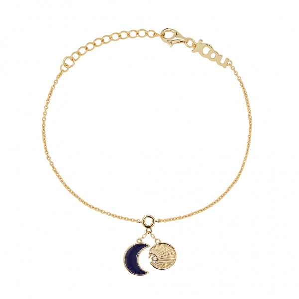 JCOU Sun And Moon Bracelet Silver 925° Gold Plated 14K JW901G2-02