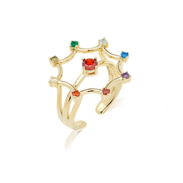 JCOU Rainbow Ring Silver 925° Gold Plated 14K JW902G0-02