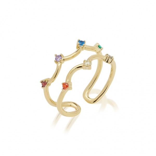JCOU Rainbow Ring Silver 925° Gold Plated 14K JW902G0-03