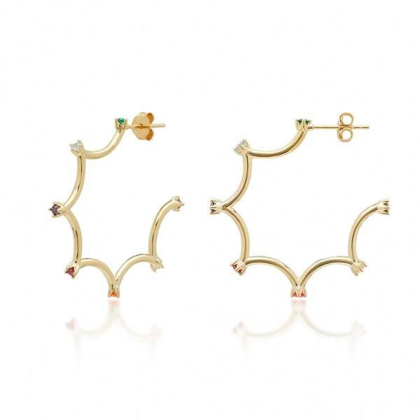 JCOU Rainbow Earring Silver 925° Gold Plated 14K JW902G4-02