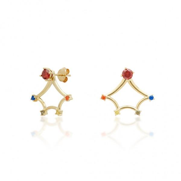 JCOU Rainbow Earring Silver 925° Gold Plated 14K JW902G4-04
