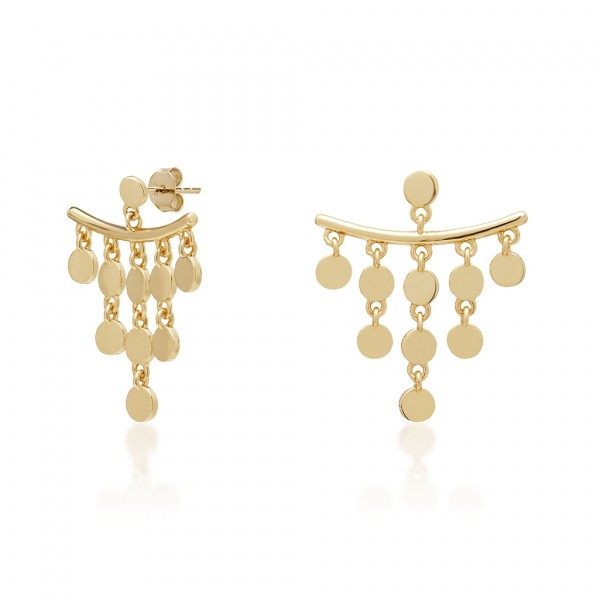 JCOU Coins Earring Silver 925° Gold Plated 14K JW905G4-03