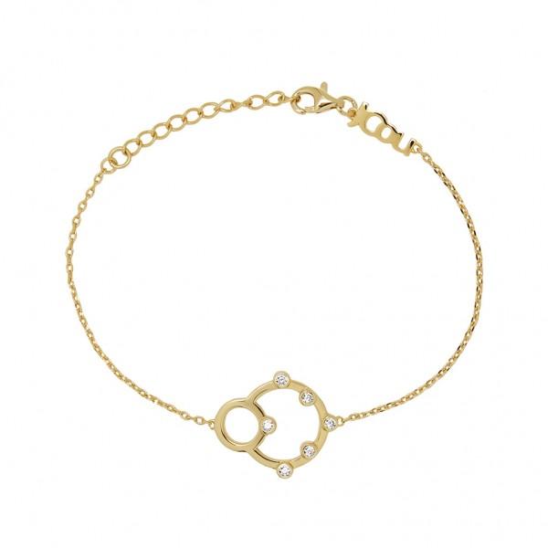 JCOU Round Minimal Bracelet Silver 925° Gold Plated 14K JW906G2-01