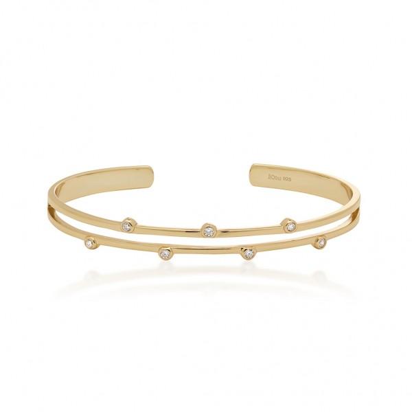JCOU Round Minimal Bracelet Silver 925° Gold Plated 14K JW906G3-01