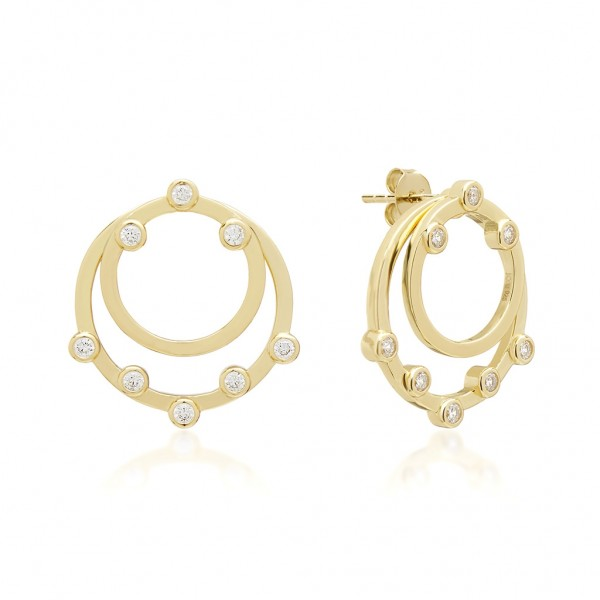 JCOU Round Minimal Earring Silver 925° Gold Plated 14K JW906G4-01