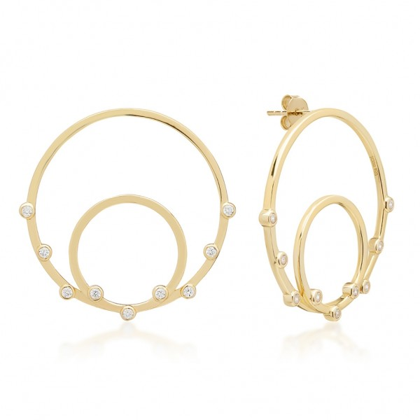JCOU Round Minimal Earring Silver 925° Gold Plated 14K JW906G4-02