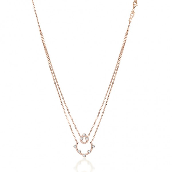 JCOU Round Minimal Necklace Silver 925° Rose Gold Plated JW906R1-01