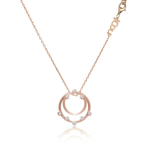 JCOU Round Minimal Necklace Silver 925° Rose Gold Plated JW906R1-02