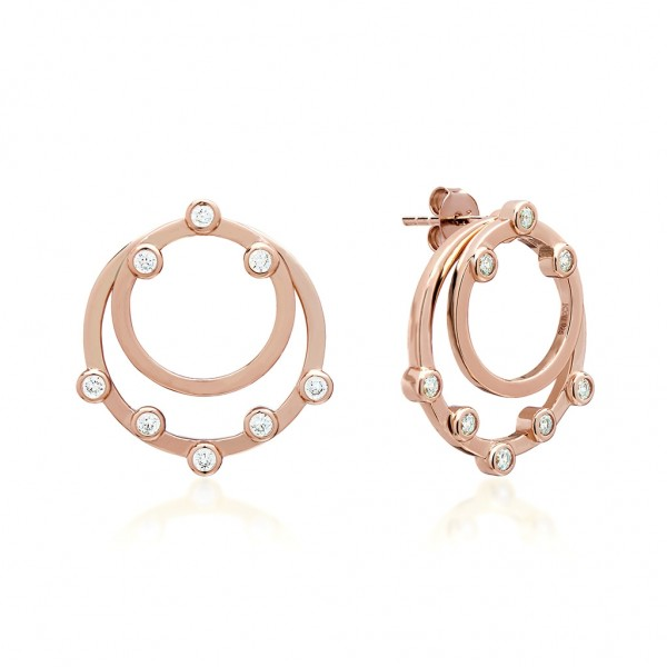JCOU Round Minimal Earring Silver 925° Rose Gold Plated JW906R4-01