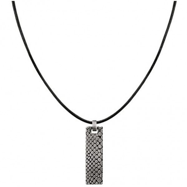 CALVIN KLEIN Scale Necklace Black Leather - Silver Stainless Steel KJ38AP310100