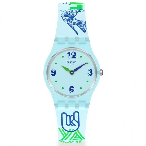 SWATCH Greentouche LN157 Design Printed Bright Blue Silicone Strap