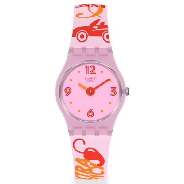 SWATCH Chillipassion LP164 Design Printed Pink Silicone Strap