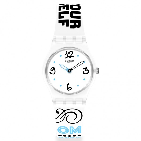SWATCH Bluefeather LW171 Design Printed White Silicone Strap