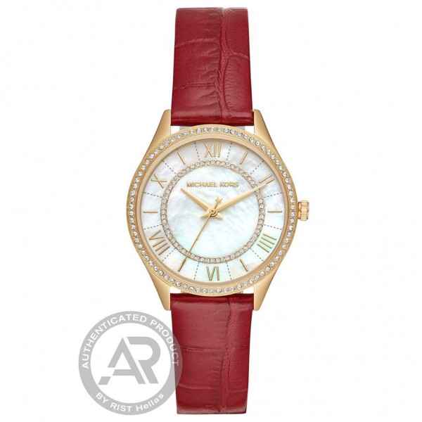 MICHAEL KORS Mini Lauryn MK2756 Crystals Red Leather Strap