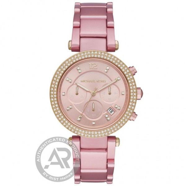 MICHAEL KORS Parker MK6806 Crystals Chrono Pink Aluminium Bracelet