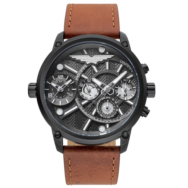 POLICE Onset PL15928JSB/61A Dual Time Brown Leather Strap