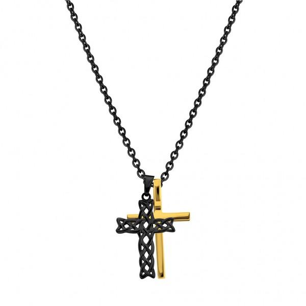 POLICE Struve Cross Gold - Black Stainless Steel PJ.26571PSBG/03