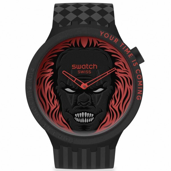 SWATCH Your Time is Coming SB01B128 Black Silicone Strap