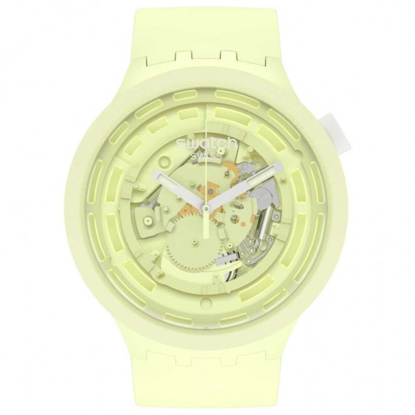 SWATCH C-Lime Boost SB03J100 Bioceramic Case-Lime BioSourced Material Strap