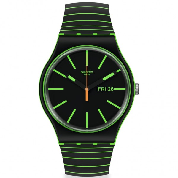 SWATCH Glow This Way SO29G702 Bioceramic Case-Two Tone Silicone Strap