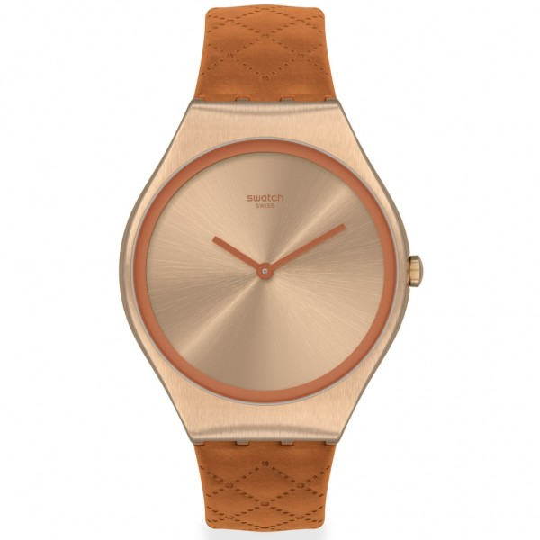 SWATCH Brown Quilted SYXG115 Brown Leather Strap