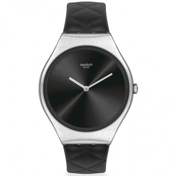 SWATCH Black Quilted SYXS136 Black Leather Strap