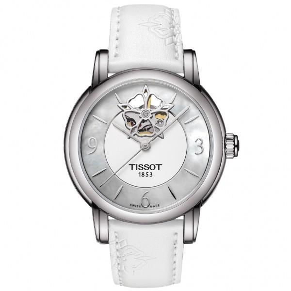 TISSOT T-Lady Heart Powermatic 80 White Leather Strap T0502071711704