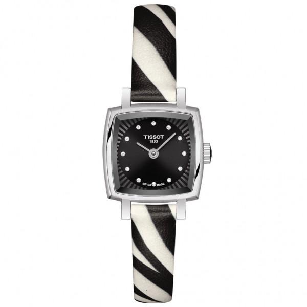 TISSOT T-Lady Lovely Square Diamonds Animal Print Leather Strap T0581091705600