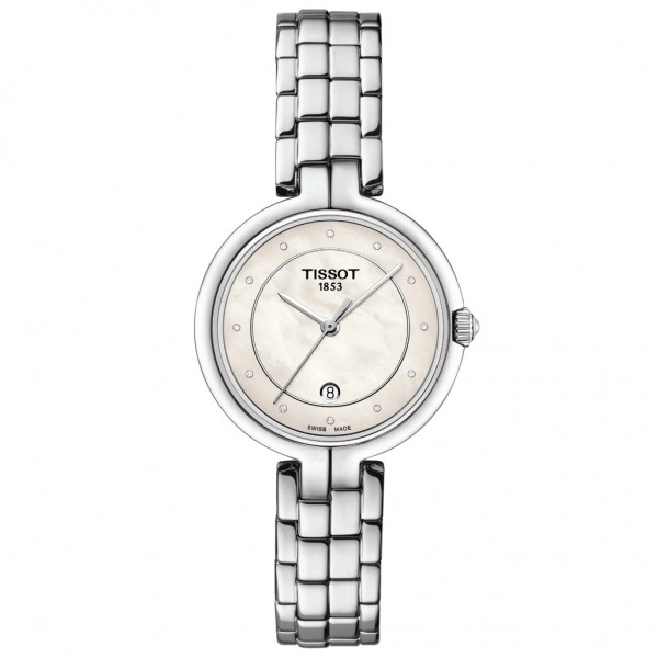 TISSOT T-Lady Flamingo Diamonds Silver Stainless Steel Bracelet T0942101111601
