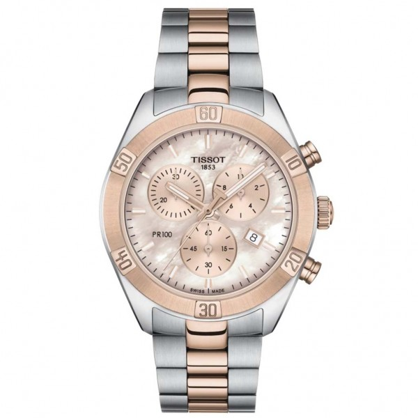 TISSOT T-Classic PR 100 Sport Chic Chronograph Two Tone Stainless Steel Bracelet T1019172215100