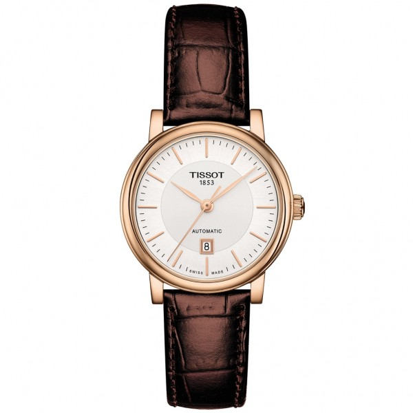 TISSOT T-Classic Carson Premium Automatic Lady Brown Leather Strap T1222073603100