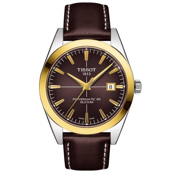 TISSOT T-Gold Gentleman Powermatic 80 Silicium Solid 18K Gold Bezel Brown Leather Strap T9274074629101